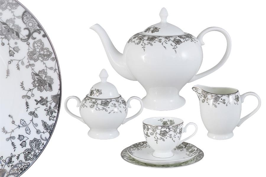 Чайный сервиз 21 предмет на 6 персон  Эстель. E5-14-601/21-ALE5-14-601/21-ALЧайная и обеденная столовая посуда торговой марки Emerald произведена из высококачественного костяного фарфора. Благодаря высокому качеству исполнения, разнообразным декорам и оптимальному соотношению цена – качество, посуда Emerald завоевала огромную популярность у покупателей и пользуется неизменно высоким спросом. Поверхность изделий покрыта превосходной сверкающей глазурью, не содержащей свинца.