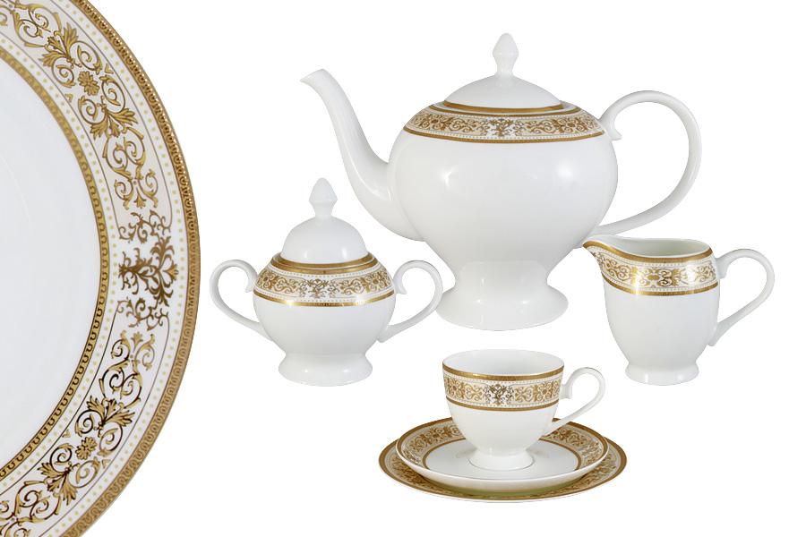Чайный сервиз 21 предмет на 6 персон Шарлотта. E5-14-604/21-ALE5-14-604/21-ALЧайная и обеденная столовая посуда торговой марки Emerald произведена из высококачественного костяного фарфора. Благодаря высокому качеству исполнения, разнообразным декорам и оптимальному соотношению цена – качество, посуда Emerald завоевала огромную популярность у покупателей и пользуется неизменно высоким спросом. Поверхность изделий покрыта превосходной сверкающей глазурью, не содержащей свинца.