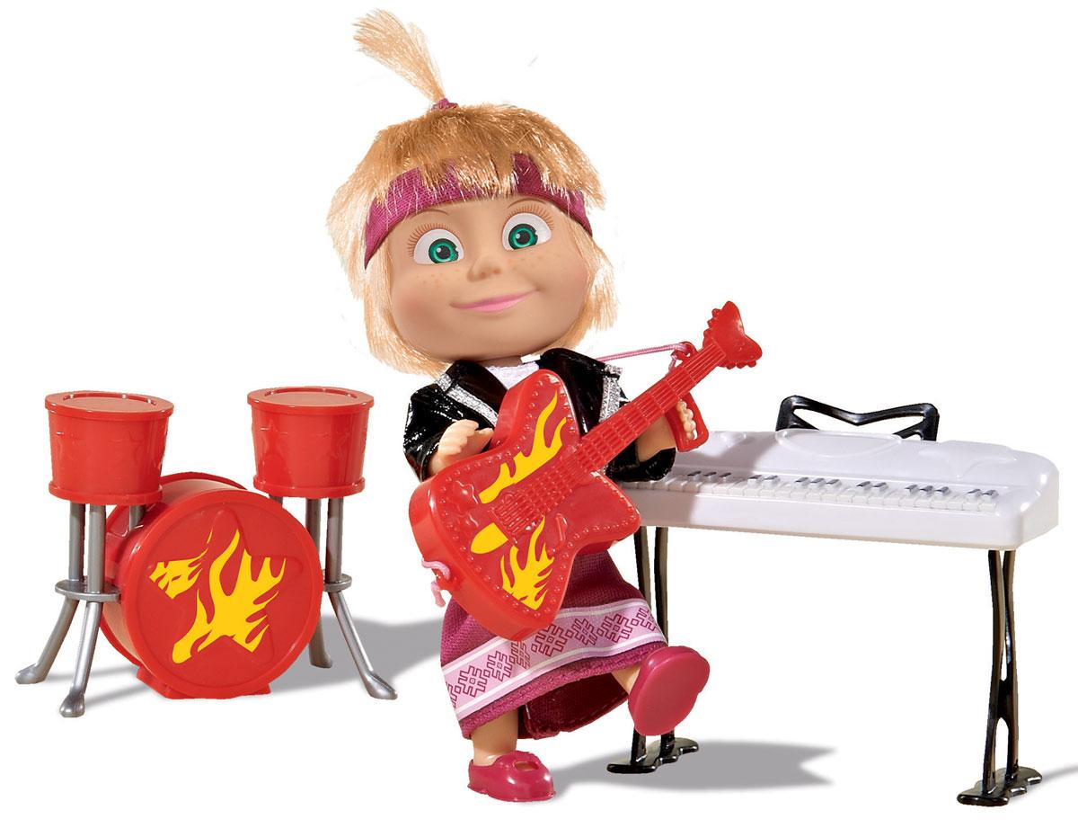 Simba Игровой набор Маша в рок-наряде9301682Игровой набор с мини-куклой Маша непременно понравится вашей малышке и надолго займет ее внимание. Игрушка выполнена из безопасного материала в виде персонажа Маши из мультсериала Маша и Медведь. Маша - рок-звезда! Кукла одета в малиновое платье и черную кожаную куртку. В наборе музыкальные инструменты: гитара, барабаны и синтезатор. Ручки, ножки и голова у Маши подвижны. У куколки зеленые глаза и загадочная улыбка, а на голове - забавный хвостик, и малиновая повязка. Оригинальный стиль и великолепное качество исполнения делают эту игрушку чудесным подарком к любому празднику, а жизнерадостный образ представит такой подарок в самом лучшем свете.