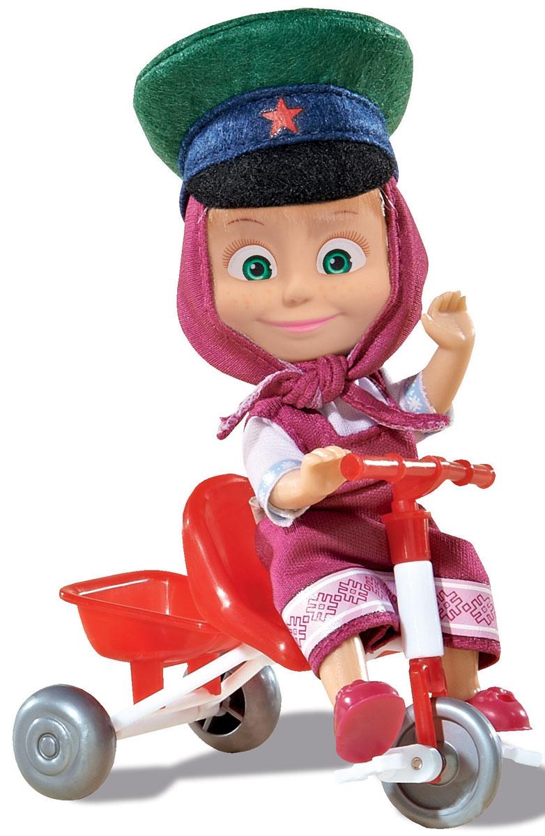Simba Мини-кукла Маша в фуражке и на велосипеде9301684Мини-кукла Маша непременно понравится вашей малышке и надолго займет ее внимание. Игрушка выполнена из безопасного материала в виде персонажа Маши из мультсериала Маша и Медведь. Маша собралась на прогулку, но пешком, а на ярком трехколесном велосипедике. Маша одела на прогулку малиновый сарафанчик, и зеленую армейскую фуражку. Ручки, ножки и голова у Маши подвижны. У куколки зеленые глаза и загадочная улыбка, а из-под косынки и фуражки выглядывает непослушная челка. Оригинальный стиль и великолепное качество исполнения делают эту игрушку чудесным подарком к любому празднику, а жизнерадостный образ представит такой подарок в самом лучшем свете.
