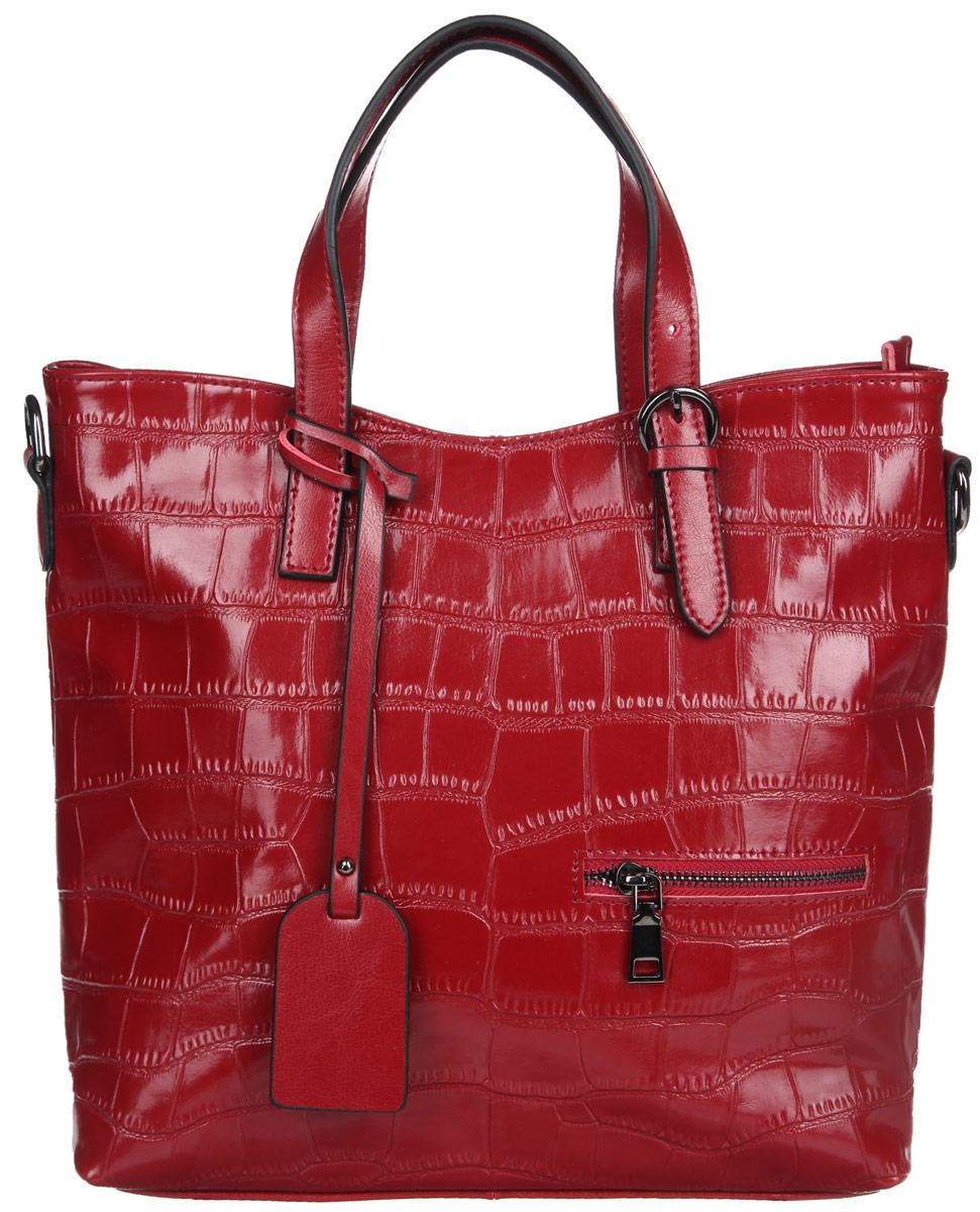 Сумка женская Cheribags, цвет: темно-красный. 9876-339876-33Стильная женская сумка Cheribags выполнена из натуральной кожи с тиснением под рептилию. Изделие имеет одно основное отделение, закрывающее на застежку-молнию. Внутри имеется прорезной кармашек на застежке-молнии, два открытых пришивных кармашка и накладной открытый карман с отделением на застежке-молнии. Снаружи на задней и передней стенках расположены дополнительные прорезные карманы на застежках-молниях. Модель оснащена двумя ручками, для удобной переноски в руках, которые регулируются по длине. В комплект входит съемный плечевой ремень, который также регулируется по длине. Ручка дополнена брелоком из кожи. Основание оснащено металлическими ножками, которые защищают изделие от повреждений. Роскошная сумка внесет элегантные нотки в ваш образ и подчеркнет ваше отменное чувство стиля.