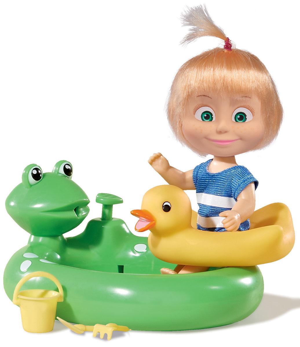 Simba Игровой набор Маша с бассейном9301698Игровой набор с мини-куклой Маша непременно понравится вашей малышке и надолго займет ее внимание. Игрушка выполнена из безопасного материала в виде персонажа Маши из мультсериала Маша и Медведь. Маша резвится в бассейне. Куколка одета в купальный костюмчик. В наборе: бассейн c функцией брызг в виде лягушонка, спасательный круг, ведёрко, грабли и лопатка. Ручки, ножки и голова у Маши подвижны. У куколки зеленые глаза и загадочная улыбка, а на голове - забавный хвостик. Оригинальный стиль и великолепное качество исполнения делают эту игрушку чудесным подарком к любому празднику, а жизнерадостный образ представит такой подарок в самом лучшем свете.