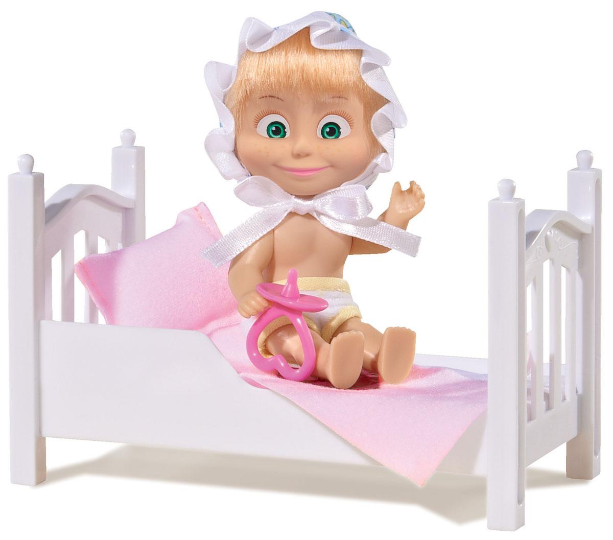 Simba Игровой набор Маша с кроваткой9301821Игровой набор с мини-куклой Маша непременно понравится вашей малышке и надолго займет ее внимание. Игрушка выполнена из безопасного материала в виде персонажа Маши из мультсериала Маша и Медведь. Маша собирается ложиться спать. На голове у куколки симпатичный чепчик. В наборе прилагается кровать с постельным бельём и соска для Маши. Ручки, ножки и голова у Маши подвижны. У куколки зеленые глаза и загадочная улыбка, а из-под чепчика выглядывает непослушная челка. Оригинальный стиль и великолепное качество исполнения делают эту игрушку чудесным подарком к любому празднику, а жизнерадостный образ представит такой подарок в самом лучшем свете.