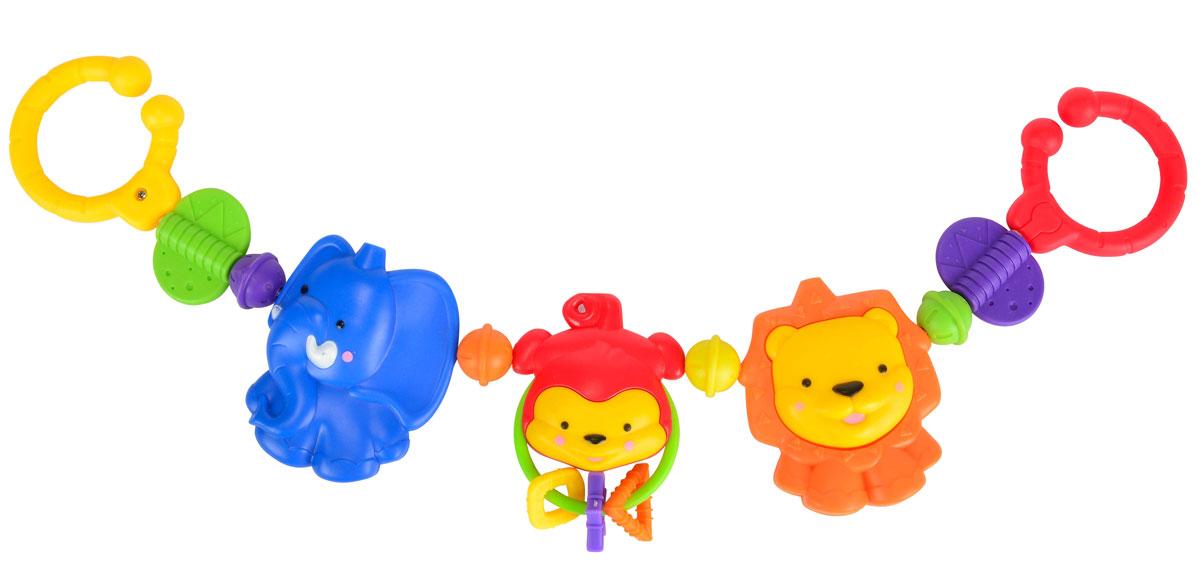 Simba Подвеска на кроватку Животные4011071Погремушка-подвеска на кроватку Животные не оставит вашего малыша равнодушным и не позволит ему скучать! Подвеска выполнена в виде трех пластиковых животных. Обезьянка, расположенная посередине подвески, снабжена гремящими элементами. На концах подвески имеются цветные колечки, при помощи которых игрушку удобно крепить не только на кроватку, но и на коляску, автомобильное кресло и к любым поверхностям. Ваш ребенок с удовольствием будет изучать яркие элементы подвески. Погремушка-подвеска поможет вашему малышу познакомиться с основными цветами и развить звуковосприятие и мелкую моторику рук.