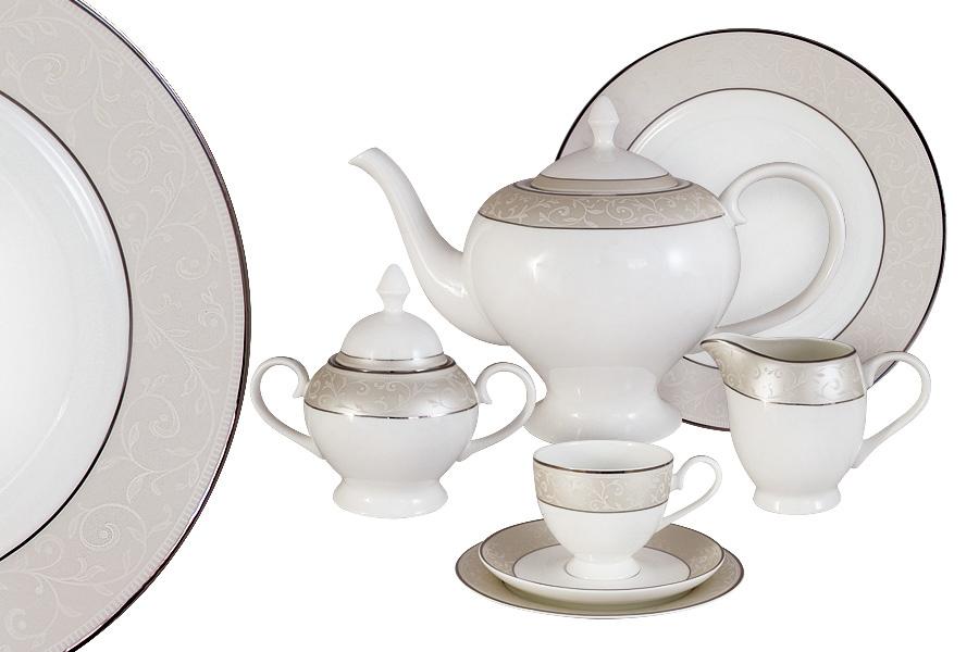 Чайный сервиз 40 предметов на 12 персон Антуанетта. E5-14-603/40-ALE5-14-603/40-ALЧайная и обеденная столовая посуда торговой марки Emerald произведена из высококачественного костяного фарфора. Благодаря высокому качеству исполнения, разнообразным декорам и оптимальному соотношению цена – качество, посуда Emerald завоевала огромную популярность у покупателей и пользуется неизменно высоким спросом. Поверхность изделий покрыта превосходной сверкающей глазурью, не содержащей свинца.