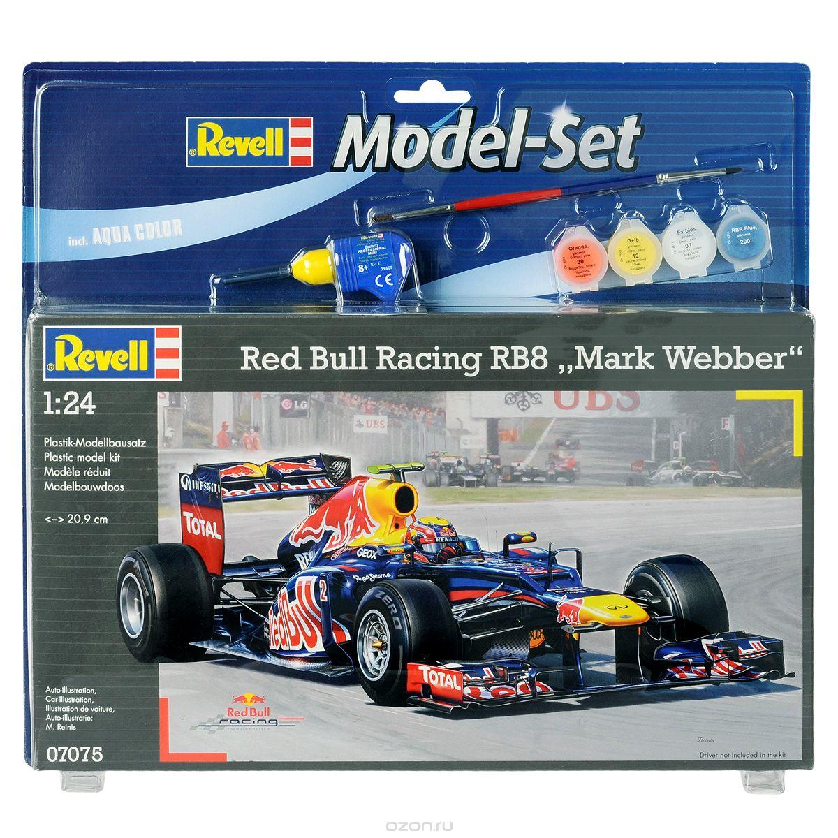 Revell Набор для сборки и раскрашивания модели Red Bull Racing RB8 Mark Webber07075Набор для сборки и раскрашивания модели Revell Автомобиль гоночный Red Bull Racing RB8 Mark Webber вы и ваш ребенок сможете собрать уменьшенную копию одноименного автомобиля. Red Bull RB8 - гоночный автомобиль с открытыми колёсами разработанный конструкторами команды Red Bull Racing для участия в Чемпионате мира сезона 2012 года. Данным автомобилем управляет австралийский гонщик Марк Уэббер. В сезонах 2010 и 2011 годов Марк занимал максимальное для себя третье место в общем зачете. Набор включает в себя 114 пластиковых элемента для сборки модели, краски четырех цветов, двустороннюю кисточку, клей и схематичную инструкцию по сборке. Благодаря набору ваш ребенок научится различать цвета, творчески решать поставленные задачи, разовьет интеллектуальные и инструментальные способности, воображение, конструктивное мышление, внимание, терпение и кругозор. Уровень сложности: 3.