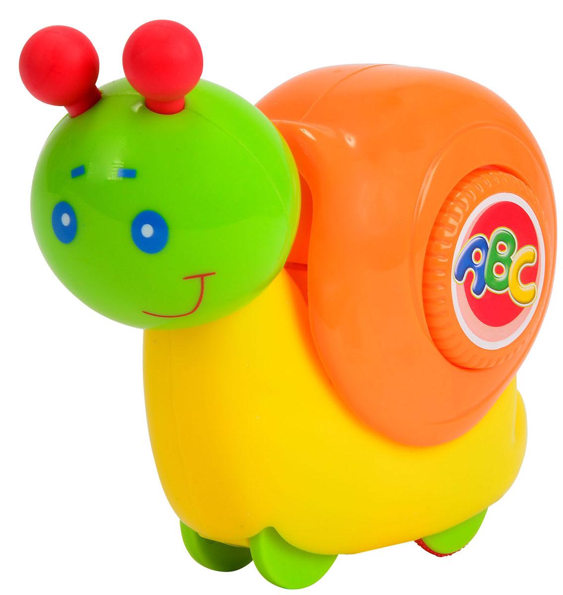 Simba Игрушка Улитка4011066Замечательная игрушка Simba Улитка вызовет улыбку и положительные эмоции у вашего малыша. У игрушки симпатичное личико, забавные рожки и большой оранжевый домик. При надавливании сверху на домик улитки, она начинает двигаться. Голова игрушки подвижна - улитка умеет кивать. А ещё игрушку можно катать по полу - она дополнена маленькими колесиками. Благодаря данной игрушке ребенок будет развивать мелкую моторику, цветовое восприятие и воображение.