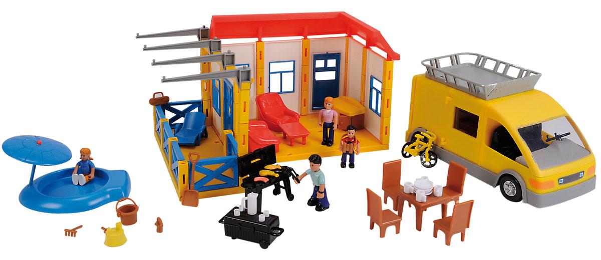 Simba Игровой набор Дачный участок4354889Игровой набор Дачный участок привлечет внимание вашей малышки и не позволит ей скучать. Мама, папа и двое детей приехали на автомобиле отдыхать в свой просторный загородный дом с летней верандой, бассейном и шезлонгом. Комплект включает в себя пластиковый домик со всеми необходимыми аксессуарами и предметами мебели для создания различных интерьеров, четыре фигурки и автомобиль. Задняя часть дома открыта, чтобы было удобно играть внутри. В бассейне вставка, имитирующая воду, вынимается и может заменяться на вставку, имитирующую песок с формочками и лопаткой. Части тела у фигурок двигаются, в ручку можно вложить какой-либо мелкий предмет. Двери у машинки открываются и туда можно поместить разные аксессуары или фигурки людей. Такой набор несомненно придется по душе вашему ребенку. Он позволит вашим детям придумывать различные ситуации, обыгрывать их, тем самым, развивая интеллект и мышление. Порадуйте свою принцессу таким замечательным подарком!