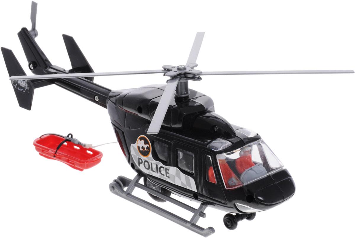 Dickie Toys Вертолет Полиция3564966_черныйИгрушка полицейский вертолет с лебедкой и носилками компании непременно порадует малыша. Вертолет оснащен фрикционным механизмом, который приводит лопасти к вращению если потянуть лебедку. В его задней части расположены открывающиеся двери, за которыми скрывается выдвижная снаружи лебедка с механизмом выпуска и намотки лески. Вертолет дополнительно оснащен носилками, которые можно прицепить за крюк лебедки. Вертолет оснащен в колесами и полозьями, что позволяет ему приземляться на различных поверхностях, в кабине находятся две фигурки пилотов. Порадуйте своего ребенка таким замечательным подарком!