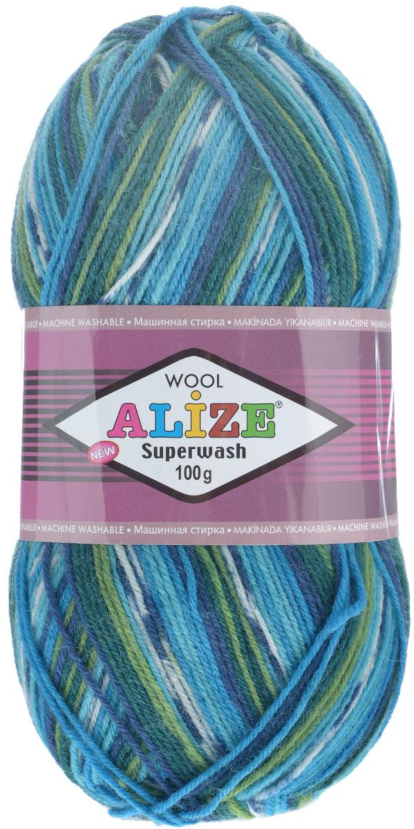 Пряжа для вязания Alize Superwash, цвет: бирюзовый, болотный, темно-синий (4445), 420 м, 100 г, 5 шт549365_4445Пряжа для вязания Alize Superwash изготовлена из 75% шерсти и 25% полиамида. Пряжа упругая, эластичная, теплая, уютная и не колется, что очень подходит для детей и взрослых. Тонкая нитка прекрасно подойдет для вязки легких, но в тоже время теплых вещей. Пряжа легко распускается и перевязывается несколько раз, не деформируясь и не влияя на вид изделия. Натуральная шерстяная нить обеспечивает изделию прекрасную форму. Рекомендуется ручная стирка при температуре 30°C. Рекомендуемый размер спиц 2-4 мм и крючка 1-3 мм. Толщина нити: 2 мм. Состав: 75% шерсть, 25% полиамид.
