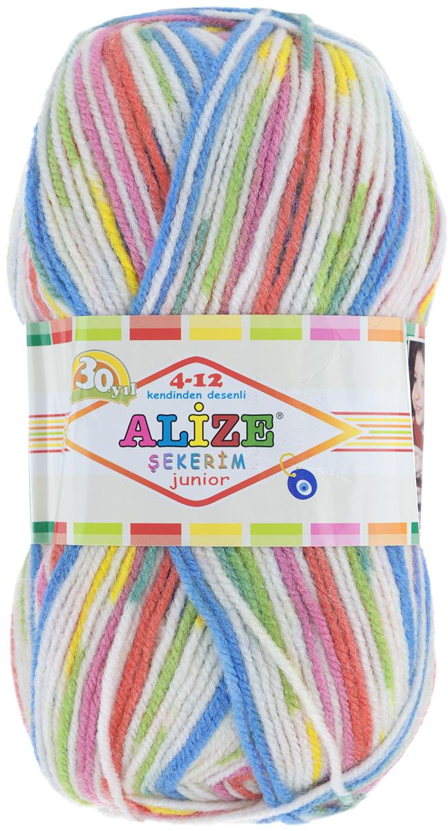 Пряжа для вязания Alize Sekerim Junior, цвет: белый, розовый, желтый, зеленый (808), 330 м, 100 г, 5 шт364082_808Пряжа для вязания Alize Sekerim Junior изготовлена из акрила с добавлением полиамида. Фантазийная пряжа секционной окраски отлично подойдет для вязания детских вещей. Ниточка мягкая и приятная на ощупь. Подходит для вязания спицами и крючком. Рекомендуемый размер спиц: №3-4. Рекомендуемый размер крючка: №2-4. Состав: 90% акрил, 10% полиамид.