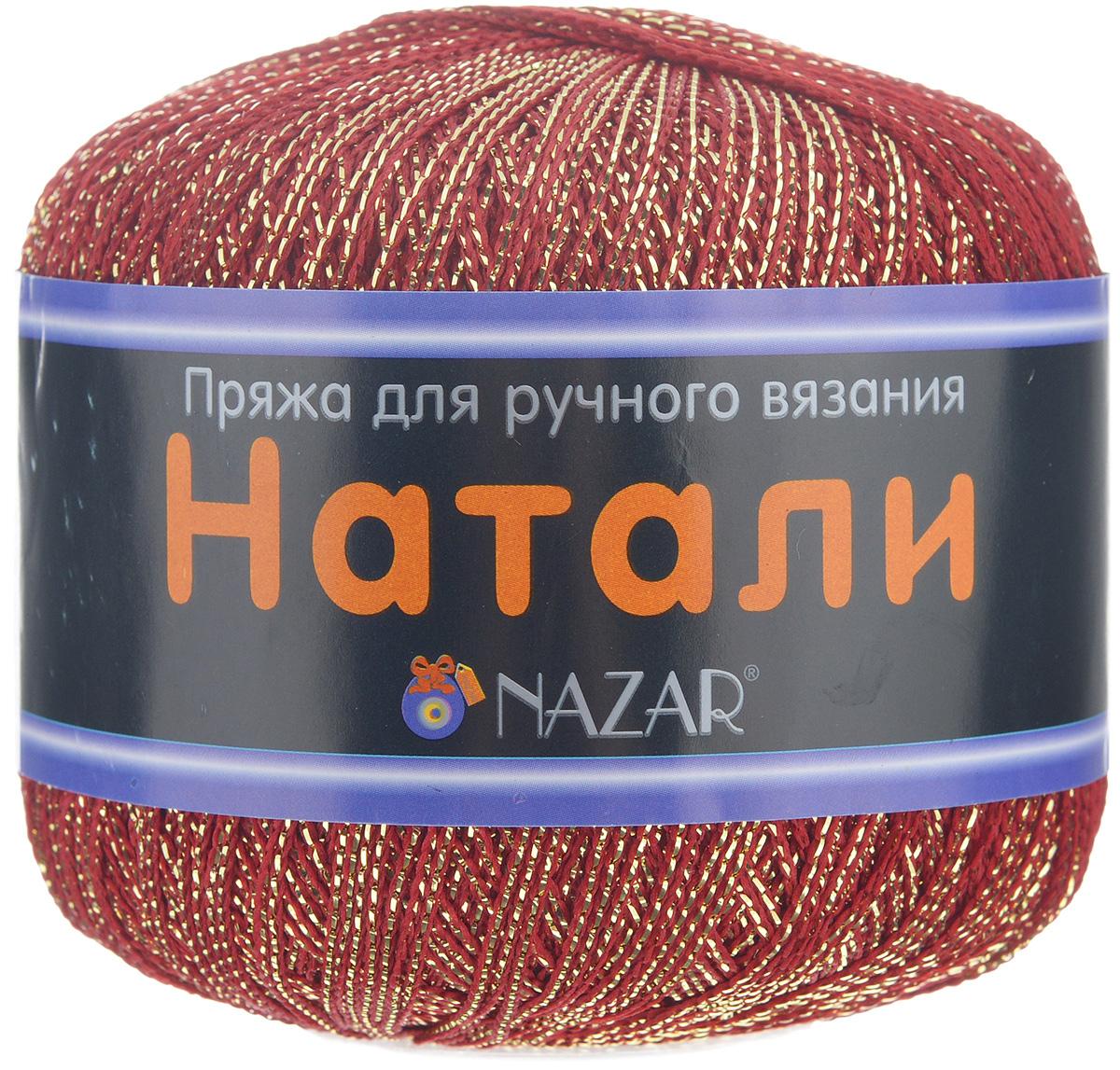 Пряжа для вязания Nazar Натали, цвет: красный, золотистый (8013), 330 м, 50 г, 10 шт349004_8013 красн./зол.Пряжа для вязания Nazar Натали изготовлена из 50% полиэстера, 50% люрекса. Эта пряжа подходит как для вязания одежды, так и для создания элементов декора. При плотном вязании эта пряжа очень хорошо держит заданную форму. Подходит для вязания на спицах и крючках 2,5-3 мм. Состав: 50% полиэстер, 50% люрекс.