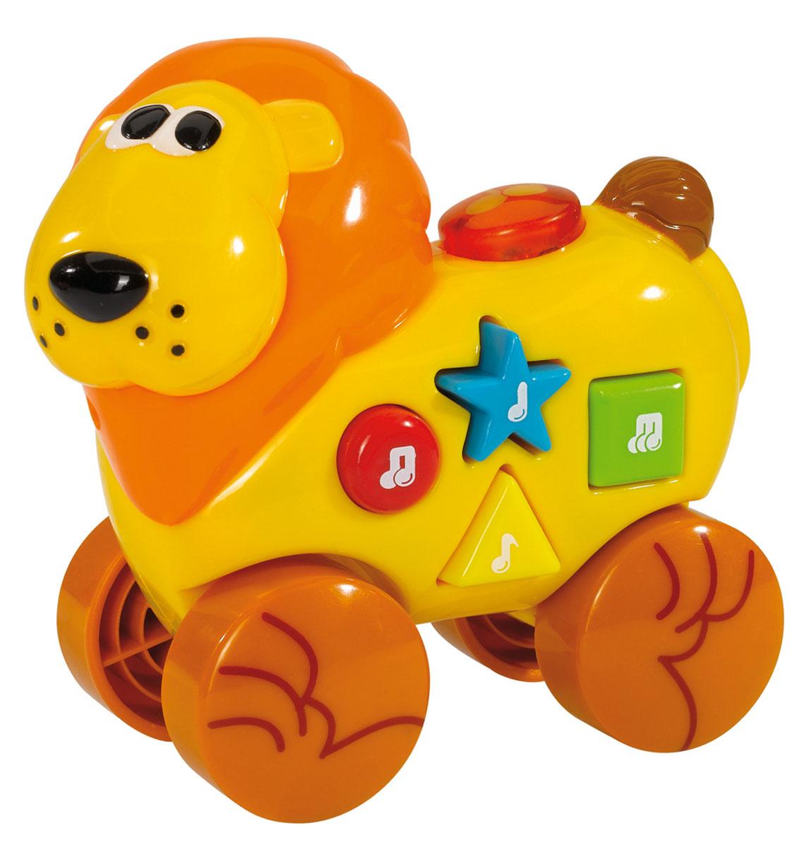 Simba Музыкальная игрушка Лев на колесиках4011610_левКрасочная развивающая игрушка Simba Лев на колесиках понравится любому малышу. Игрушка изготовлена из высококачественного пластика ярких цветов в виде забавного желтого львенка. Нажимая на большие разноцветные кнопочки на его спине, можно услышать веселые мелодии, которые сопровождаются световыми эффектами. Ребенку будет интересно катать игрушку и передвигаться за ней по комнате - ползком, или даже делая первые шаги. Благодаря данной игрушке, ребенок будет развивать мелкую моторику и цветовое и звуковое восприятие. Для работы необходимы 3 батарейки типа LR44 (комплектуется демонстрационными).