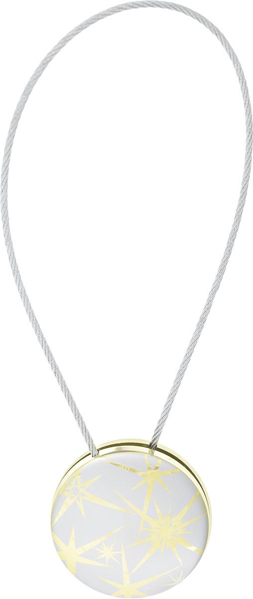 Клипсы магнитные для штор SmolTtx Звездный взрыв, цвет: серый, золотистый, длина 30 см544092_2С3Магнитные клипсы SmolTtx Звездный взрыв предназначены для придания формы шторам. Они оформлены декоративным изображением. Изделие представляет собой соединенные тросиком два элемента, на внутренней поверхности которых расположены магниты. С помощью такой клипсы можно зафиксировать портьеры, придать им требуемое положение, сделать складки симметричными или приблизить портьеры, скрепить их. Следует отметить, что такие аксессуары для штор выполняют не только практическую функцию, но также являются одной из основных деталей декора, которая придает шторам восхитительный, стильный внешний вид. Диаметр клипсы: 4,5 см. Длина троса: 30 см. Длина троса (с учетом клипс): 38,5 см.