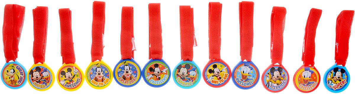 Веселая затея Медаль Disney Микки Маус 12 шт1507-0819Комплект медалей Веселая затея Disney: Микки Маус включается в себя 12 пластиковых медалей с красными ленточками для участников конкурсов с изображением Микки Мауса, Минни Маус, Гуфи и Дональда Дака. В комплекте 3 синие, 3 красные, 3 голубые, 3 желтые медали. Надписи на медалях также различаются: Excellent!, Great Job!, Awesome!, Way To Go!, Terrific!, Super!. Никто не уйдет без награды!