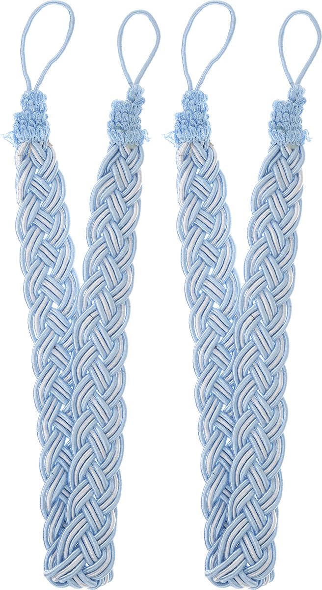 Подхват для штор Goodliving Коса, цвет: голубой, серебристый, длина 65 см, 2 шт142669_783/502Подхват для штор Goodliving Коса представляет собой плотный узор, плетеный в виде косы. Изделие оснащено петлями для фиксации штор, гардин и портьер. Подхват - это основной вид фурнитуры в декоре штор, сочетающий в себе не только декоративную функцию, но и практическую - регулировать поток света. Такой аксессуар способен украсить любую комнату. Длина подхвата (с учетом петель): 65 см. Ширина подхвата: 2,5 см.