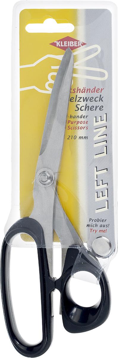 Ножницы Kleiber Left line, для левшей, цвет: черный, длина 21 см921-55Многофункциональные ножницы Kleiber Left Line изготовлены из закаленной нержавеющей стали и полностью адаптированы специально для левшей. Эргономичные ручки из пластика обеспечивают комфорт даже при длительной работе. Длина ножниц: 21 см. Длина лезвий: 8 см.