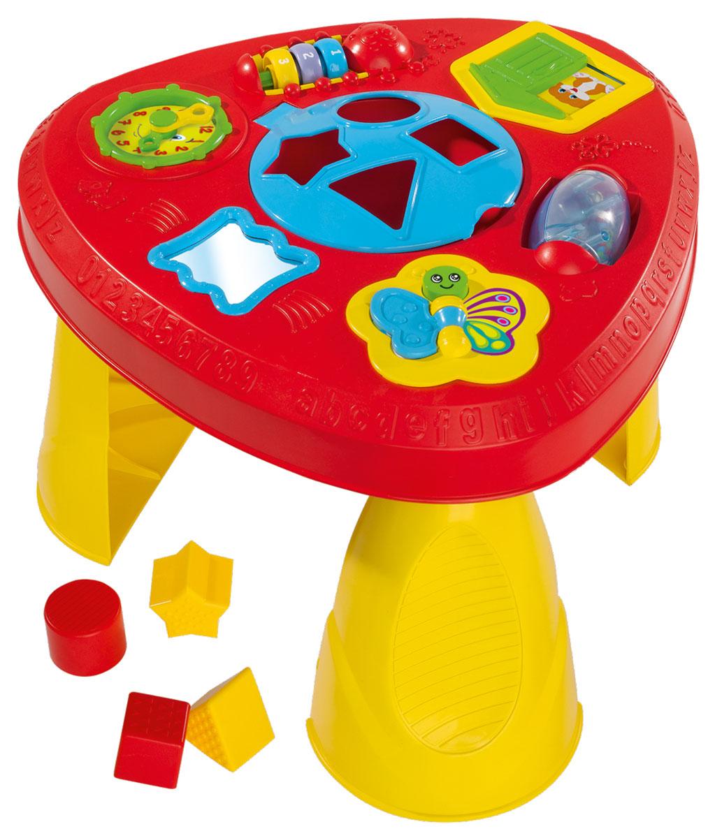Simba Развивающий столик-сортер4010051Развивающий столик-сортер непременно понравится вашему малышу и надолго займет его внимание. Сортер выполнен в виде маленького пластикового столика, в центре которого имеются отверстия для различных геометрических фигур. Задача малыша состоит в том, чтобы опустить фигурки, входящие в комплект, в соответствующие им отверстия. После того, как все фигурки окажутся внутри игрушки, их можно достать через дверцу. По краям столика расположены яркие развивающие элементы. Один из элементов - счеты с разноцветными бусинками, ребенок сможет их просто передвигать или с их помощью осваивать счет до трех. С другой стороны расположена полупрозрачная крутящаяся погремушка с цветными шариками внутри. Ещё на столике имеются часы с подвижными стрелками, которые крутятся с легким треском, а также бабочка с двигающимся крылышком и безопасное зеркало. А за зеленой скрипучей дверкой спрятался милый щенок. Ножки у столика складываются, благодаря чему при хранении он не занимает много места. ...