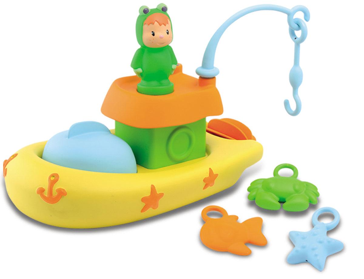Smoby Игрушка для ванной Рыбацкая лодка211123Набор для купания Рыбацкая лодка непременно понравится вашему малышу, он будет с удовольствием принимать ванну и ловить на удочку морскую звезду, краба и рыбку. У лодки есть сборный капитанский мостик, а на верхушке его закрепляется фигурка и удочка, состоящая из двух частей. На конце удочки - крючок, которым нужно ловить морских обитателей. На лодке имеется блюдце, под которое можно складывать улов, или на котором может плавать фигурка рыбака-лягушонка, перевернув его. Рыбацкая лодка дополнена колесиком-мотором на корме. Набором интересно пользоваться не только в ванной, но и на суше. Яркий набор превратит обычные водные процедуры в огромное удовольствие. В процессе игры ребенок будет выдумывать различные сюжеты, развивая свое воображение. При этом развивается логическое мышление и мелкая моторика.