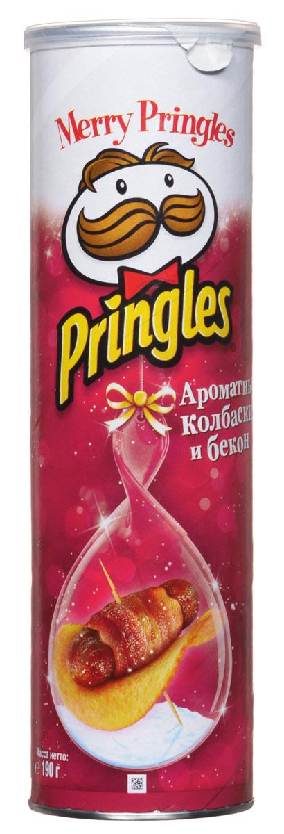 Pringles картофельные чипсы со вкусом ароматных колбасок и бекона, 190 г