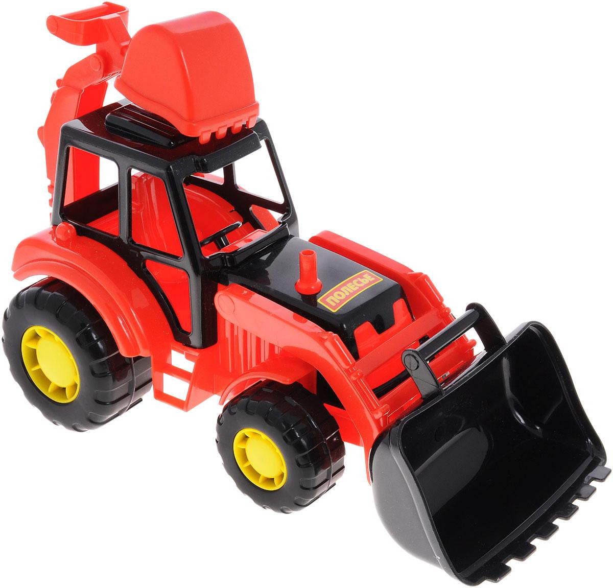 Полесье Трактор-экскаватор Мастер цвет красный35318_красныйЯркий трактор-экскаватор Мастер обязательно понравится вашему малышу и займет его внимание надолго. Трактор может грести песок или снег, а может ковшом копать ямку (котлован) в песочнице. Экскаватор оснащен двумя подвижными ковшами, снабжен большими устойчивыми колесами со свободным ходом. Ваш маленький строитель часами будет играть с таким экскаватором, придумывая различные истории. Порадуйте его таким замечательным подарком!