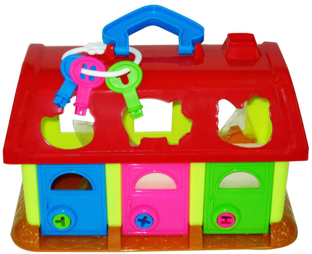 Полесье Игрушка-сортер Домик для зверей цвет красныйП-9166_красныйИгрушка-сортер Полесье Домик для зверей сочетает в себе увлекательное обучение и настоящее веселье. Оригинальный и яркий сортер выполнен из прочного безопасного пластика ярких цветов в виде домика с полукруглой крышей и открывающимися дверцами. В комплект входит колечко с ключами от дверей - это поможет разнообразить игру, предоставив малышу возможность подобрать ключик к каждой из дверей. Сортер это незаменимая игрушка для всех малышей, которые уже активно познают мир и готовы начать изучение форм и цветов. Шесть разнообразных форм разных цветов с изображением животных перемещаются малышом внутрь домика через соответствующие отверстия в крыше. В процессе такой игры малыш начнет развивать логическое мышление, а также пространственное мышление, познакомится с понятием формы предмета и понятием соответствия предметов одного другому.