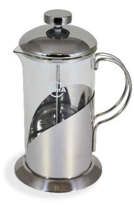 Френч-пресс TimA Тирамису, 600 млFT-600Френч-пресс TimA Тирамису, изготовленный из жаропрочного стекла и высококачественной нержавеющей стали, это совершенный чайник для ежедневного использования. Изделие с плотной крышкой и удобной ручкой имеет специальный поршень с фильтром из нержавеющей стали для отделения чайных листьев от воды. После заваривания чая фильтр не надо вынимать. Заваривание чая - это приятное и легкое занятие. Френч-пресс TimA Тирамису займет достойное место на вашей кухне. Можно мыть в посудомоечной машине. Объем френч-пресса: 600 мл. Диаметр френч-пресса (по верхнему краю): 8,5 см. Высота френч-пресса (без учета крышки): 16,5 см. Высота френч-пресса (с учетом крышки): 20,5 см.