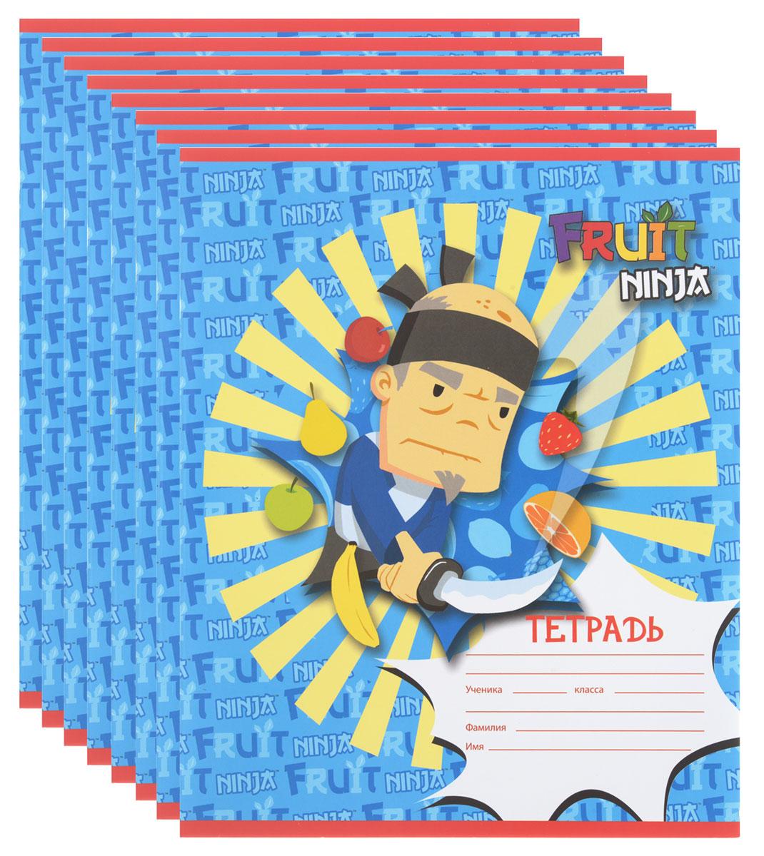 Action! Набор тетрадей Fruit Ninja 24 листа в клетку 8 шт цвет голубой