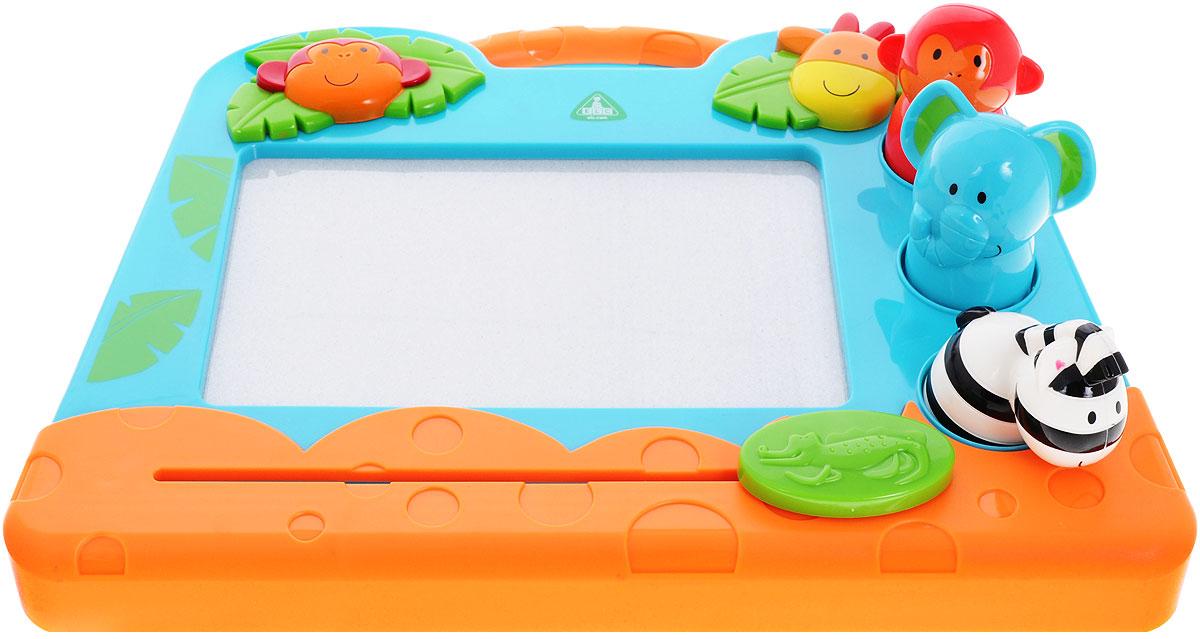 ELC Экран для рисования Джунгли132606Ребенок сможет сколько угодно писать и рисовать, не пачкаясь и не использовать бумагу! Экран для рисования ELC Джунгли с магнитной стружкой выполнен в ярких тонах. Сбоку располагаются инструменты для рисования. Ручка - обезьянка, зиг-заг - зебра, отпечаток лапы штамп - слона. Инструменты специально разработаны для маленькой детской ручки. Благодаря удобному дизайну, экран всюду можно брать с собой. Ваш ребенок часами будет играть с такой игрушкой. Порадуйте его таким подарком! Игры с экраном для рисования способствуют самовыражению вашего ребенка, развитию творческого мышления и воображения.