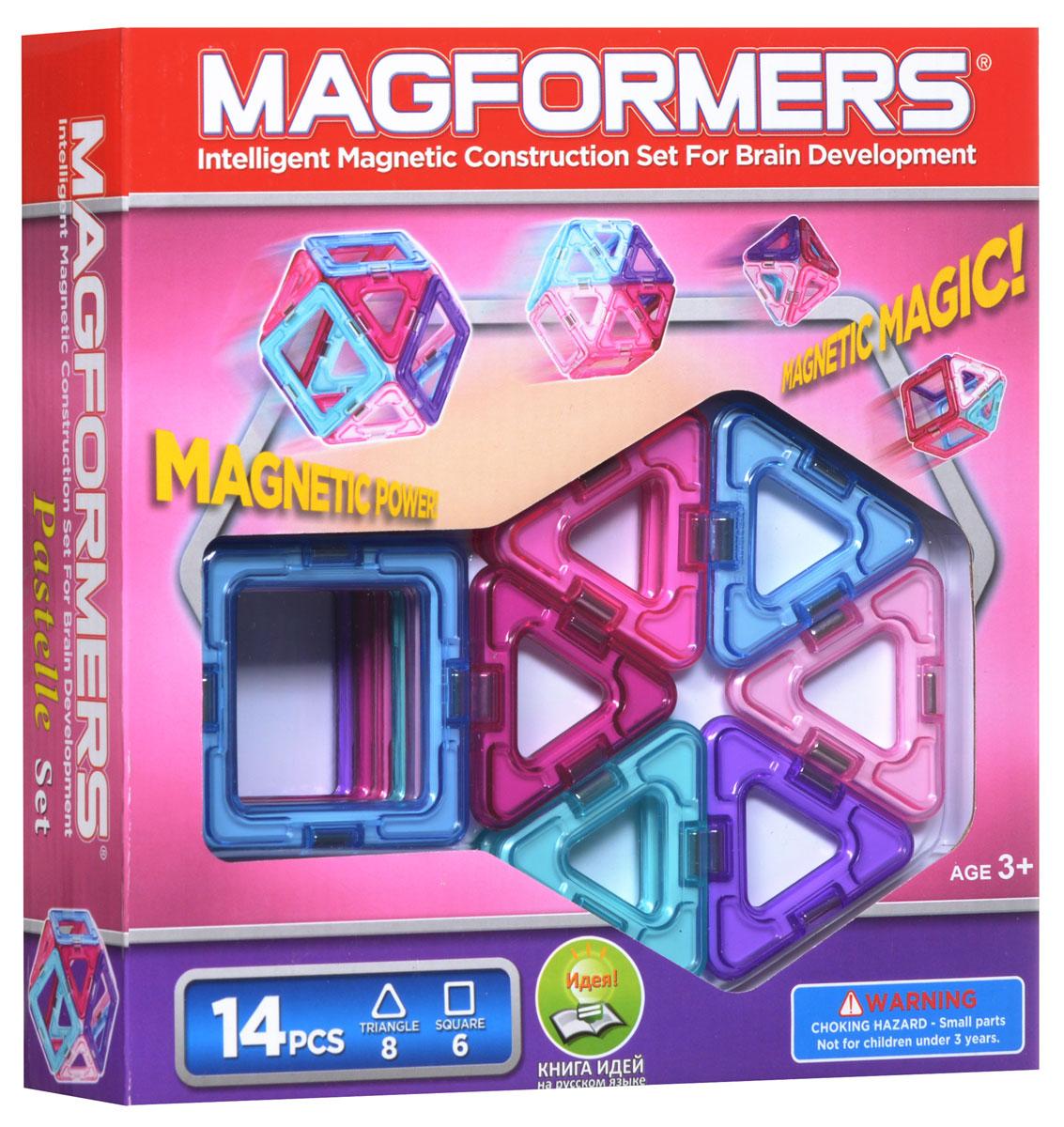 Magformers Магнитный конструктор Pastelle 14704001Магнитный конструктор Magformers Pastelle 14 позволит построить различные 2D и 3D модели из двух геометрических фигур - треугольников и квадратов. Почувствуйте силу магнитного поля, исследуйте и экспериментируйте с многочисленными вариантами соединений деталей! Новинка Магформерс - один из бестселлеров Magformers 14 - теперь в пастельных тонах. Цветовая гамма этого набора - нежные оттенки розового и голубого. Как и любой конструктор Magformers, Pastelle 14 полностью совместим с другими наборами. Набор Magformers Pastelle 14 получил заслуженную награду - ассоциацией Oppenheim Toy Portfolio ему была присуждена платиновая медаль за 2013 год.Oppenheim Toy Portfolio - независимый и некоммерческий обозреватель, с 1989 года тестирующий лучшие товары для детей. Отобранные игрушки проходят тройную экспертизу. В качестве экспертов выступают педагоги и детские психологи, родители и, конечно, дети. В комплекте 14 элементов.