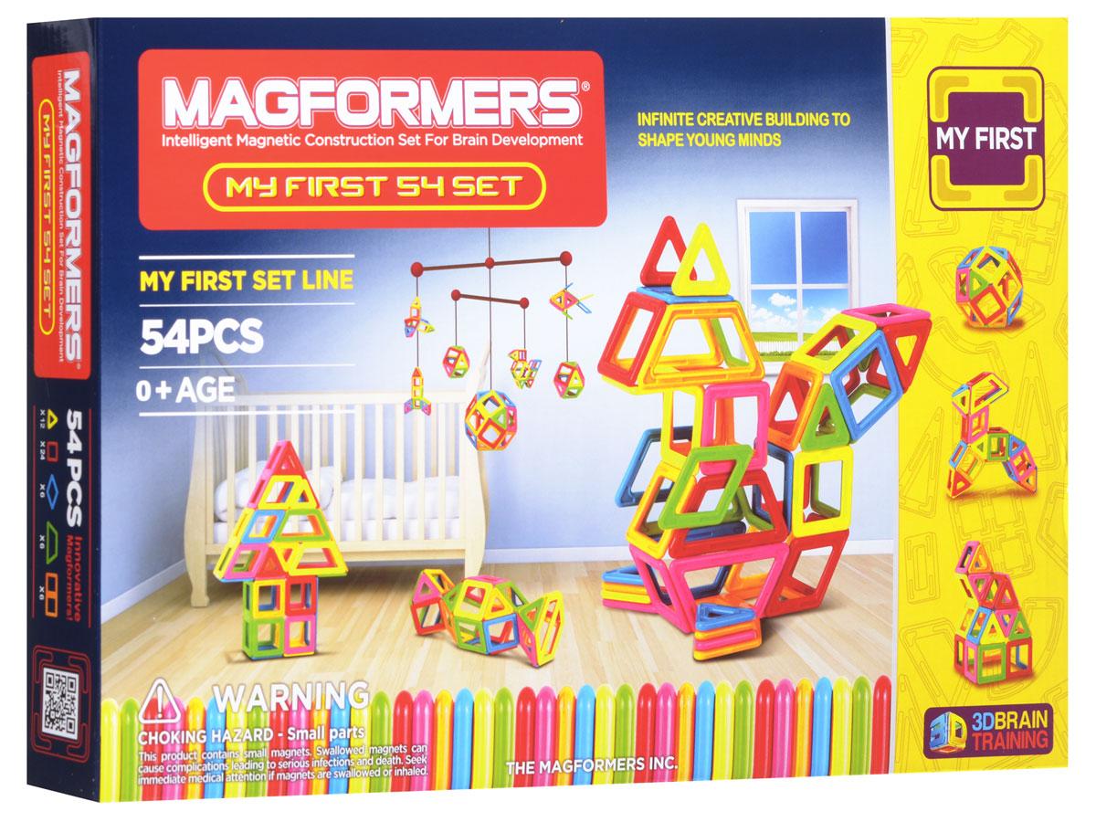 Magformers Магнитный конструктор My First 5463108Магнитный конструктор Magformers Classic Set позволит построить различные 2D и 3D модели из двух геометрических фигур - треугольников и квадратов. Почувствуйте силу магнитного поля, исследуйте и экспериментируйте с многочисленными вариантами соединений деталей! Магнитный конструктор Magformers Classic Setподходит для семьи с детьми, среди которых есть малыши возрастом до одного года. Данный набор абсолютно безопасен для детей самой младшей возрастной категории, что подтверждено сертификатами и присвоением особой категории 0+. Крупные детали, отсутствие острых углов и гладкие поверхности делают детали данного набора приемлемыми для игры с детьми с рождения. Однако данный набор будет интересен и детям постарше, ведь они смогут выполнять разнообразные задания, изучать цвета, создавать аппликации на плоскости и объемные фигуры. В комплект входит: 54 элемента конструктора, 3 листа с 6 игровыми полями, 5 карточек с постройками, игровая книга с заданиями.