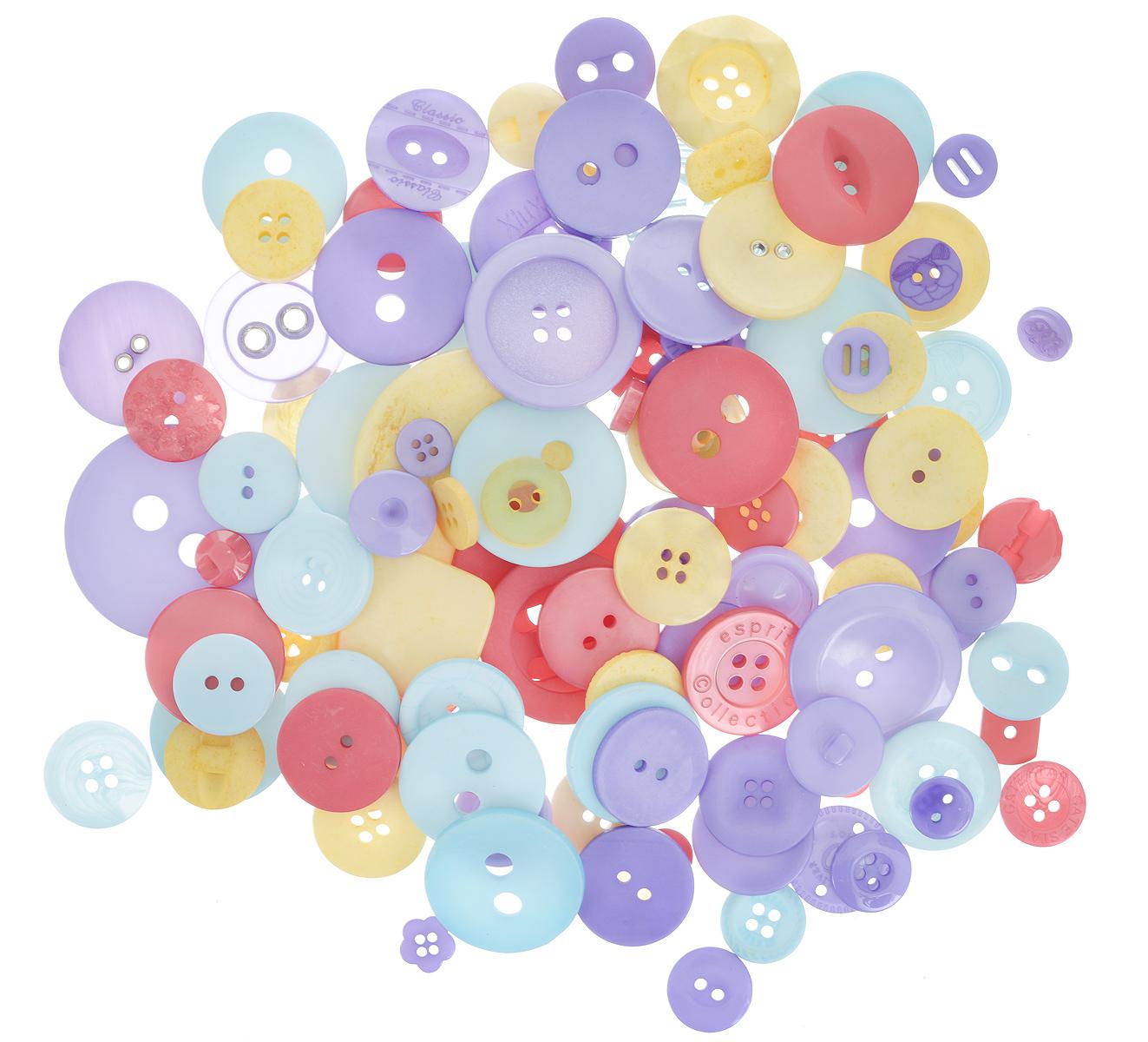 Пуговицы декоративные Buttons Galore & More Карнавал, цвет: голубой, сиреневый, желтый, 115 г. 77088827708882_КарнавалНабор пуговиц для творчества и декорирования одежды Buttons Galore & More Карнавал изготовлен из высококачественного пластика и металла. В набор входят пуговицы различных размеров и с разным количеством отверстий. Такие пуговицы подходят для любых видов творчества: скрапбукинга, декорирования, шитья, изготовления кукол, а также для оформления одежды. С их помощью вы сможете украсить открытку, фотографию, альбом, подарок и другие предметы ручной работы. Пуговицы имеют оригинальный и яркий дизайн. Средний диаметр пуговиц: 2 см.