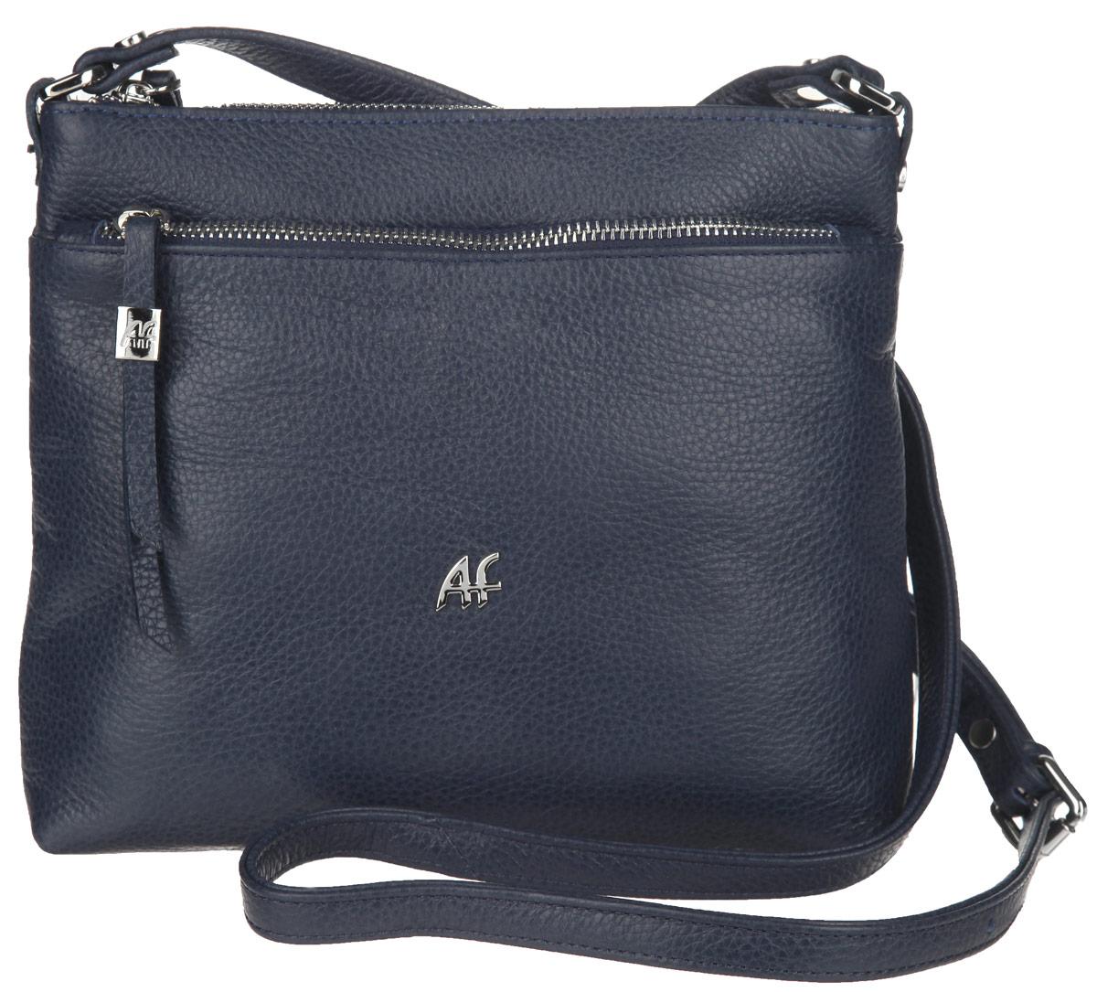 Сумка женская Afina, цвет: синий. 229229 СинийИзысканная женская сумка Afina выполнена из натуральной качественной кожи с фактурным тиснением. Сумка имеет одно отделение, которое закрывается на застежку-молнию. Внутри находится прорезной кармашек на застежке-молнии и два накладных открытых кармашка. Снаружи, на передней стенке расположен накладной карман на застежке-молнии. На задней стенке предусмотрен дополнительный прорезной карман на застежке-молнии. Сумка оснащена плечевым ремнем, который регулируется по длине. В комплект входит фирменный пакет. Роскошная сумка внесет элегантные нотки в ваш образ и подчеркнет ваше отменное чувство стиля.