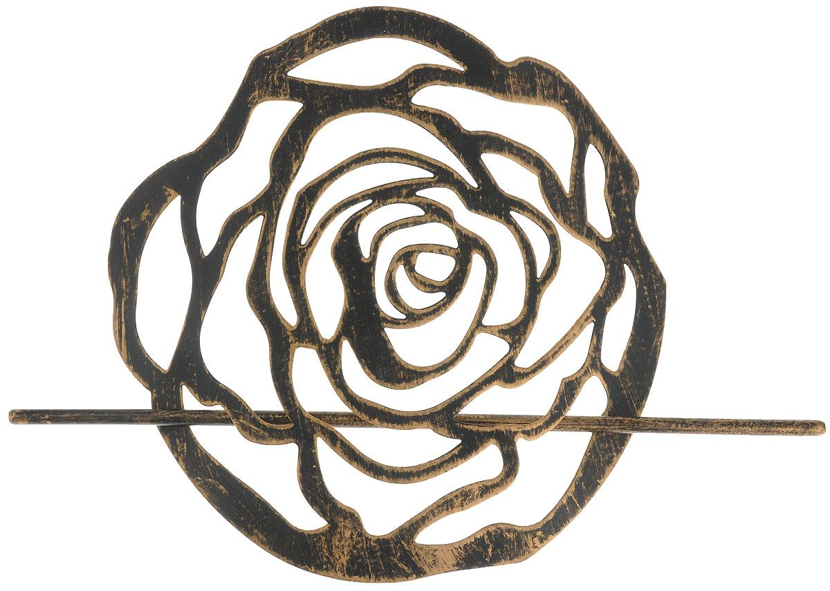 Заколка для штор Мир Мануфактуры, цвет: черный, бронзовый697020_5 черный, бронзовыйЗаколка Мир Мануфактуры, выполненная из высококачественного металла, предназначена для фиксации штор или для формирования декоративных складок на ткани. С ее помощью можно зафиксировать шторы или скрепить их, придать им требуемое положение, сделать симметричные складки. Заколка для штор является универсальным изделием, которое превосходно подойдет для любых видов штор. Заколка придаст шторам восхитительный, стильный внешний вид и добавит уют в интерьер помещения. Размер декоративного элемента: 16,5 см х 16,2 см. Длина палочки: 23 см.