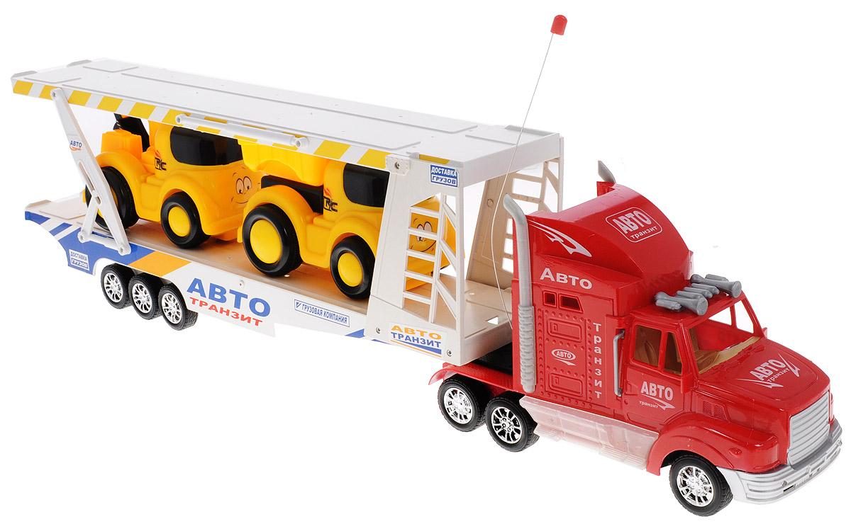 Zhorya Автотрейлер с машинами на радиоуправлении Авто-транзитХ75414Набор игровой Авто-транзит на радиоуправлении - это 3 игрушки в одной упаковке с оригинальным дизайном. Трейлер с поднимающимся вторым этажом и 2 машинки управляющиеся дистанционно. Модель машины с пластмассовыми частями, со свободно вращающимися колесами, воспроизводят звуковые эффекты при езде. Модель изготовлена из прочного пластика, имеет прорезиненные колеса, которые обеспечивают надежное сцепление с поверхностью, и дополнена световыми эффектами. Универсальная игрушка, которая подарит вашим детям много радости и приятное времяпрепровождение за игрой. Отличный вариант для пополнения коллекции игрушек. Ваш ребенок часами будет играть с моделью, придумывая различные истории и устраивая соревнования. Порадуйте его таким замечательным подарком! Для работы пульта управления необходимо докупить 2 батарейки типа АА (входят в комплект). Для работы трейлера необходимо докупить 4 батарейки напряжением 1,5V типа АА (входят комплект).