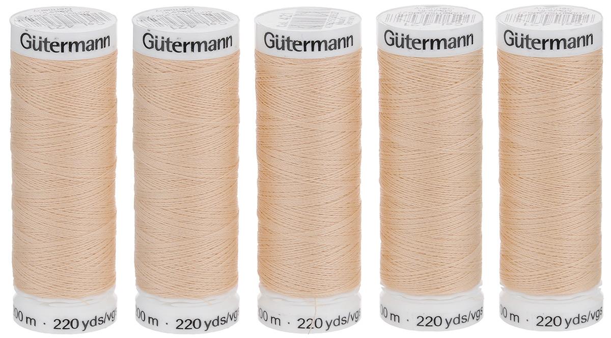 Нитки Gutermann, цвет: бежевый (421), 200 м, 5 шт. 132057132057_421_421Универсальная нить Gutermann из 100% полиэстера является оптимальным решением для всех материалов и швов. Она отлично подходит для шитья на швейных машинах, а также для шитья вручную, независимо от вида шва. Эта высококачественная швейная нить с уникальной структурой гарантирует оптимальное шитье без запыления и сборок шва, а также позволяет шить тонкими иглами, начиная с толщины NM 60. Благодаря высокой прочности на разрыв и на истирание швы получаются особенно прочными и долговечными. Великолепные оттенки и шелковый блеск придают швам неповторимый элегантный внешний вид. Толщина: №100. Плотность: 300. Комплектность: 5 шт.