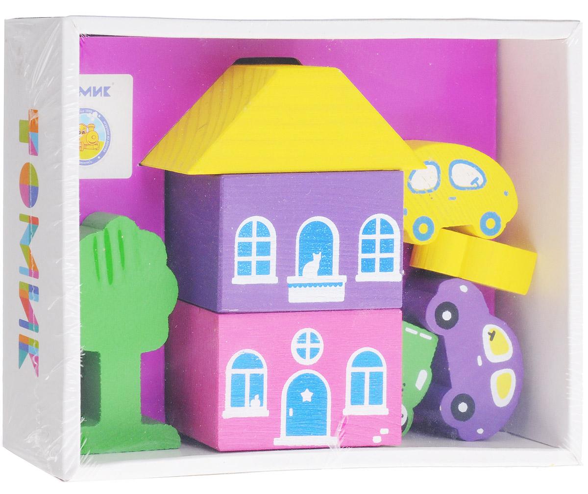 Томик Конструктор Цветной городок цвет фиолетовый8688-2Конструктор Томик Цветной городок - это яркий деревянный конструктор, с помощью которого ребенок сможет построить маленький городок с деревьями, машинами и фигурками человечков. Дети часто используют построенные сооружения в своих сюжетных играх, поэтому в наборах конструкторов есть фигурки людей, машин и деревьев. Малыш сможет не только построить целый город, но и как настоящий волшебник наполнить его жизнью. А придумывая сюжеты игр, ребенок развивает воображение, связную речь, овладевает навыками ролевого поведения.