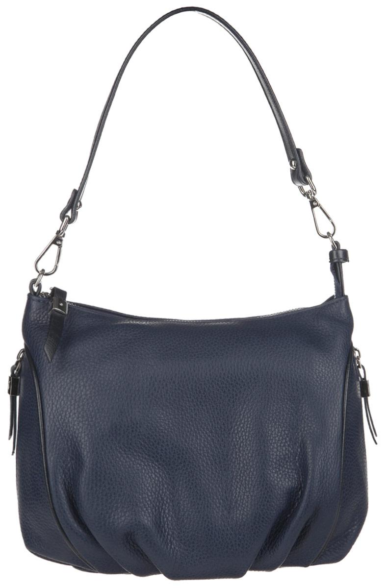 Сумка женская Afina, цвет: темно-синий. 216216 СинийИзысканная женская сумка Afina выполнена из натуральной качественной кожи с фактурным тиснением. Сумка имеет одно отделение, закрывающееся на застежку-молнию. Внутри находится прорезной кармашек на застежке-молнии и два накладных кармашка для телефона и мелочей. Снаружи, на задней стенке и по бокам расположены прорезные карманы на застежках-молниях. Сумка оснащена съемной ручкой. В комплект входит съемный плечевой ремень регулируемой длины и фирменный пакет. Роскошная сумка внесет элегантные нотки в ваш образ и подчеркнет ваше отменное чувство стиля.