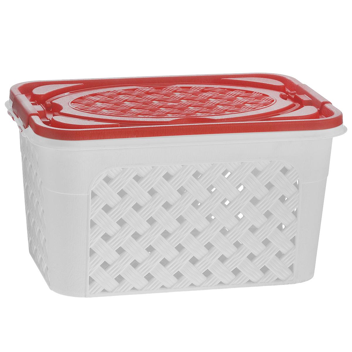 Контейнер Альтернатива Плетенка-люкс, цвет: белый, красный, 39 х 26 х 21 смМ3477Контейнер Альтернатива Плетенка-люкс выполнен из прочного пластика. Он предназначен для хранения различных бытовых вещей и продуктов. Контейнер имеет крышку, которая легко открывается и плотно закрывается, благодаря зажимам, расположенным по бокам. Стенки контейнера и крышка имитированы под плетение, за счет этого обеспечивается естественная вентиляция. Контейнер оснащен двумя ручками, благодаря которым его удобно переносить. Контейнер поможет хранить все в одном месте, а также его можно использовать как корзину для пикника.