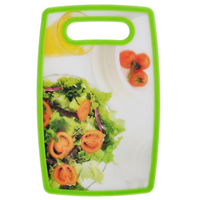 Доска разделочная Hausmann Салат, 16 х 25 смHM-PPH2516/1030Прямоугольная разделочная доска Hausmann Салат с антибактериальным покрытием, выполненная из полипропилена, станет незаменимым аксессуаром на вашей кухни. Лицевая сторона доски оформлена красочным изображением салата. Такая доска прекрасно подойдет для нарезки любых продуктов. Доска устойчива к деформации, не разрушается. Не скользит по поверхности стола, что обеспечивает безопасную нарезку продуктов. Функциональная и простая в использовании, разделочная доска Hausmann Салат разнообразит и освежит интерьер кухни, а также прослужит вам долгие годы. Можно мыть в посудомоечной машине. Размер доски: 16 см х 25 см х 1,3 см.