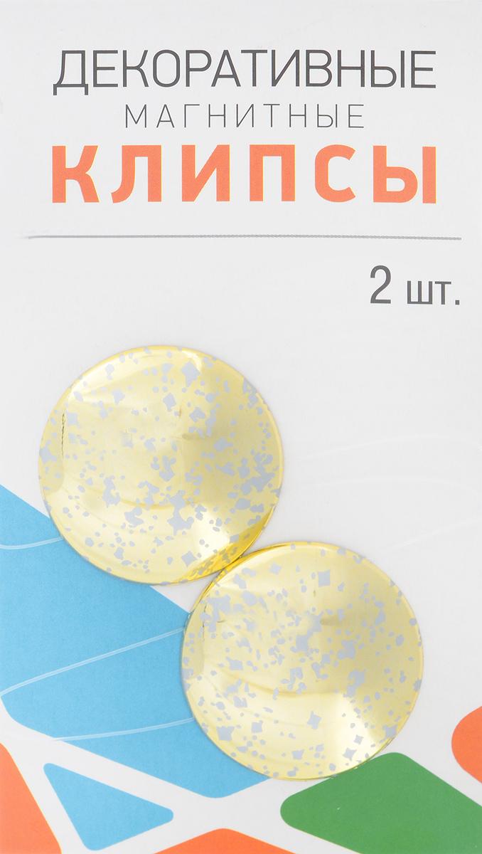 Клипсы магнитные для штор SmolTtx Пятна, с леской, цвет: золотистый, длина 33,5 см, 2 шт544091_2В3Магнитные клипсы SmolTtx Пятна предназначены для придания формы шторам. Изделие представляет собой соединенные леской два элемента, на внутренней поверхности которых расположены магниты. С помощью такой клипсы можно зафиксировать портьеры, придать им требуемое положение, сделать складки симметричными или приблизить портьеры, скрепить их. Следует отметить, что такие аксессуары для штор выполняют не только практическую функцию, но также являются одной из основных деталей декора, которая придает шторам восхитительный, стильный внешний вид. Длина клипсы (с учетом лески): 33,5 см. Диаметр клипсы: 3,5 см.
