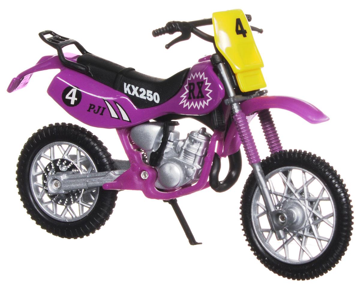 Dickie Toys Кроссовый мотоцикл № 4 цвет фиолетовый3385773_фиолетовый №4Кроссовый мотоцикл Dickie Toys № 4 непременно понравится любому маленькому гонщику. Мотоцикл выполнен из прочного безопасного пластика, его колесики прорезинены для лучшего сцепления с поверхностью пола. Мотоцикл оснащен откидывающейся боковой ножкой и оформлен красочными стикерами. Яркий, реалистичный мотоцикл, выполненный с вниманием к деталям, станет отличным дополнением к автопарку вашего малыша! Ваш ребенок часами будет играть с такой игрушкой, придумывая различные истории и устраивая соревнования. Порадуйте его таким замечательным подарком!