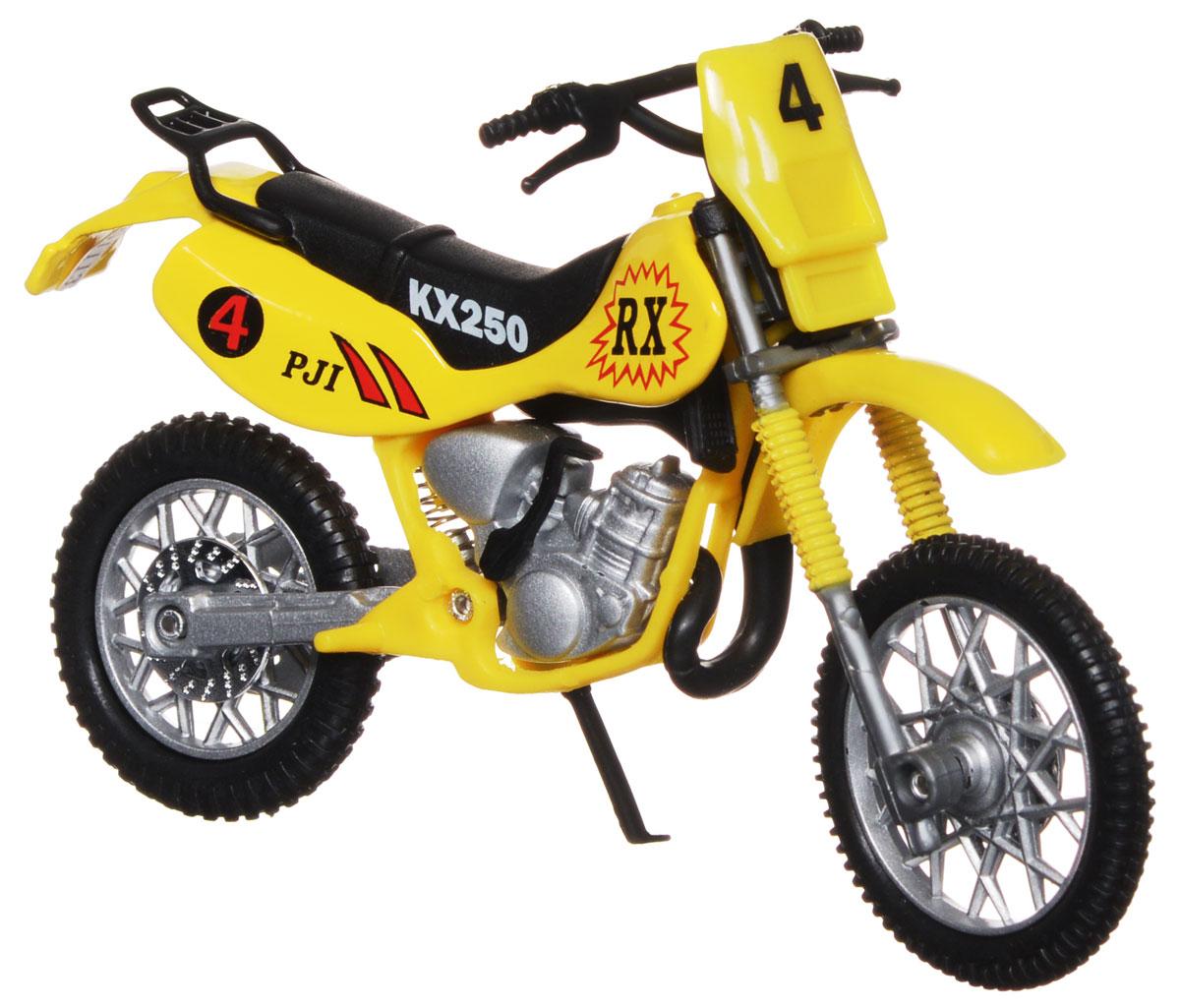 Dickie Toys Кроссовый мотоцикл № 4 цвет желтый3385773_желтый №4Кроссовый мотоцикл Dickie Toys № 4 непременно понравится любому маленькому гонщику. Мотоцикл выполнен из прочного безопасного пластика, его колесики прорезинены для лучшего сцепления с поверхностью пола. Мотоцикл оснащен откидывающейся боковой ножкой и оформлен красочными стикерами. Яркий, реалистичный мотоцикл, выполненный с вниманием к деталям, станет отличным дополнением к автопарку вашего малыша! Ваш ребенок часами будет играть с такой игрушкой, придумывая различные истории и устраивая соревнования. Порадуйте его таким замечательным подарком!