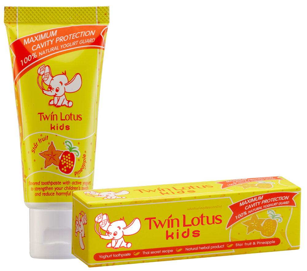 Twin Lotus Детская зубная паста Карамбола и ананас, 50 г069Для молочных и постоянных зубов.Не содержит фтора, лауритсульфат натрия, парабенов, ПЭГ. Зубная паста предназначена для детей от 3 до 10 лет. Препятствует росту бактерий, обеспечивая надежную защиту от кариеса, нормализуют микробный состав полости рта, укрепляет зубную эмаль, предотвращая потерю кальция, обладает приятным фруктовым вкусом.