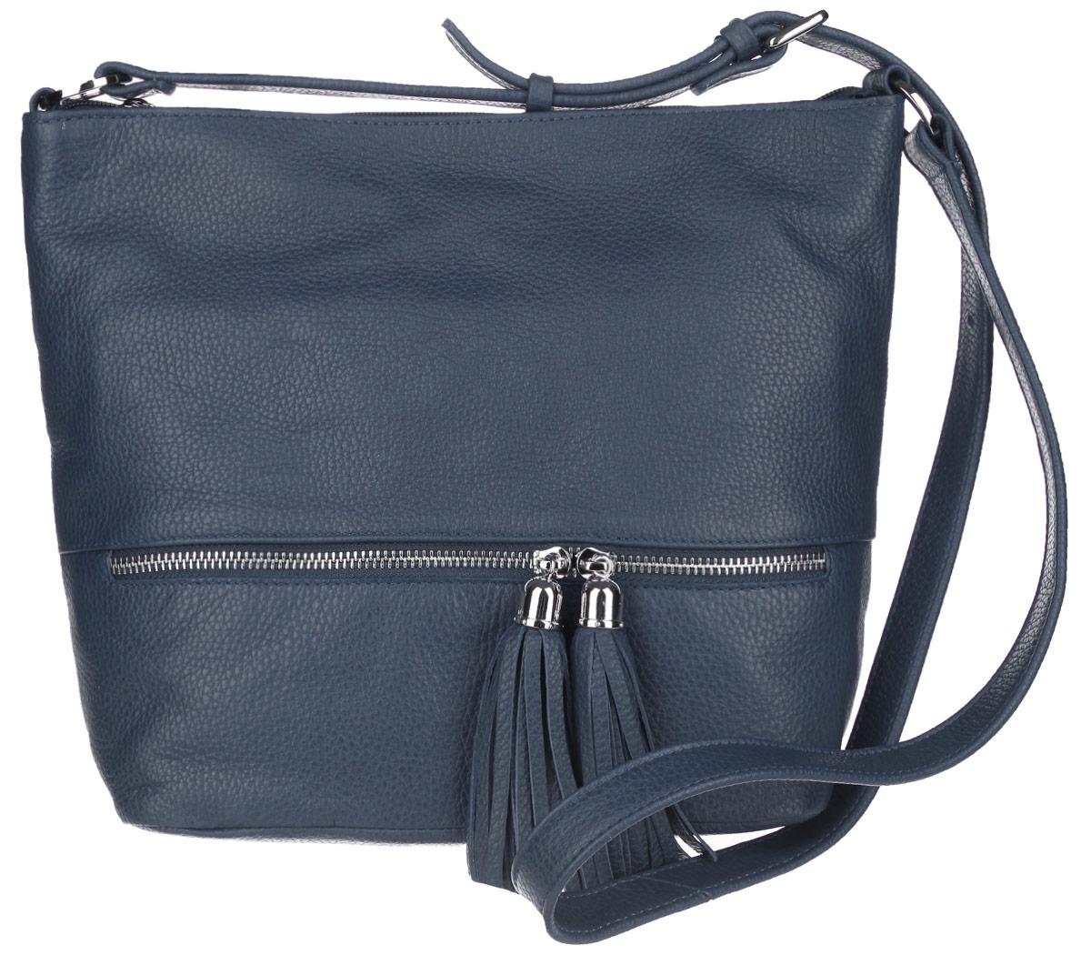Сумка женская Afina, цвет: синий. 220220 СинийСтильная женская сумка Afina выполнена из натуральной кожи с фактурным тиснением. Сумка имеет одно основное отделение, которое закрывается на застежку-молнию. Внутри находятся два накладных открытых кармашка, прорезной карман на застежке-молнии и накладной открытый карман с отделением на застежке-молнии. Снаружи, на задней и передней стенках расположены прорезные карманы на застежках-молниях. Спереди прорезной карман оформлен двумя бегунками с подвесками. Сумка оснащена плечевым ремнем, который регулируется по длине. В комплект входит фирменный пакет. Роскошная сумка внесет элегантные нотки в ваш образ и подчеркнет ваше отменное чувство стиля.
