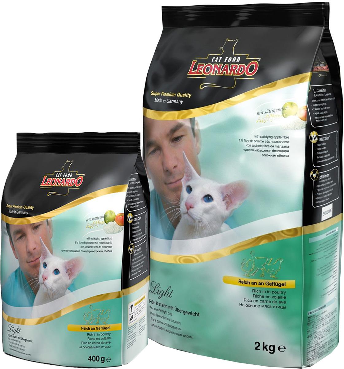 Корм сухой Leonardo Light, для кастрированных котов и стерилизованных кошек, для животных с избыточным весом, 2 кг + ПОДАРОК19760_400 гр бесплатноСухой корм Leonardo Light предназначен для кастрированных котов и стерилизованных кошек, а также для животных, страдающих избыточным весом. Добавлен L-карнитин для сжигания жировой ткани. Волокна яблока обеспечивают животному чувство насыщения. Корм снижает образование зубного камня и зубного налета. Обладает профилактикой мочекаменной болезни. В подарок идет сухой корм Leonardo Light, для кастрированных котов и стерилизованных кошек, для животных с избыточным весом, 400 г. Состав: сухое мясо птицы пониженной зольности 33%, рис 16%, кукуруза, мука сельди 7%, яблочные выжимки, сушеные 4%, гидролизат печени птицы, рожь, жир домашней птицы, морепродукты (криль), вытяжка из виноградной косточки, яичный порошок, пивные дрожжи, овсяные отруби 2,5%, льняное семя, поваренная соль, инулин. Пищевые добавки: витамин А 15000 МЕ, витамин D3 1500 МЕ, витамин E 150 мг, витамин С (как аскорбил монофосфаты) 245 мг, таурин 1400 мг, L-карнитин 200 мг, медь...