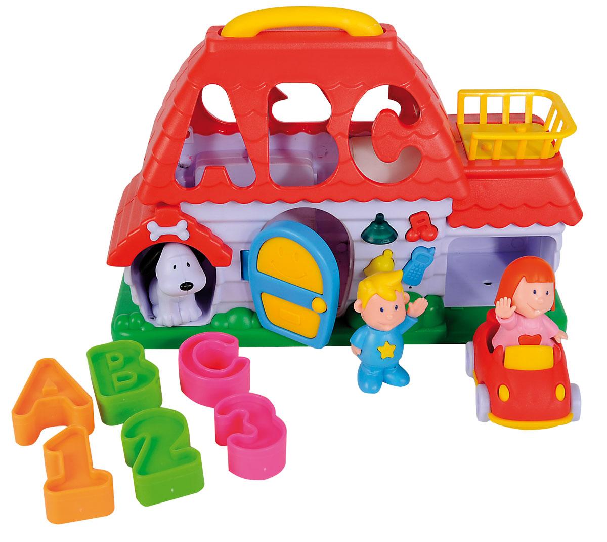 Simba Развивающая игрушка Домик-сортер4019524Развивающая игрушка-сортер Домик непременно понравится вашему малышу и надолго займет его внимание. Сортер выполнен в виде домика, в крыше которого имеются отверстия в виде букв и цифр. Задача малыша состоит в том, чтобы опустить фигурки, входящие в комплект, в соответствующие им отверстия. После того, как все фигурки окажутся внутри игрушки, их можно достать через дверцу домика. На передней панели домика имеется входная открывающаяся дверь и кнопочки около нее. При нажатии на кнопочки ребенок услышит веселые звуки и увидит мерцание колокольчика. На задней стороне домика-сортера расположены счеты с разноцветными бусинками. Ребенок сможет их просто передвигать или с их помощью осваивать счет. Рядом со счетами изображен циферблат часов с двумя подвижными стрелками. Домик дополнен гаражом для машинки и собачьей будкой. Машинка и собачка идут в комплекте вместе с фигурками мальчика и девочки. Домик оснащен выдвигающейся ручкой для переноски. Элементы...