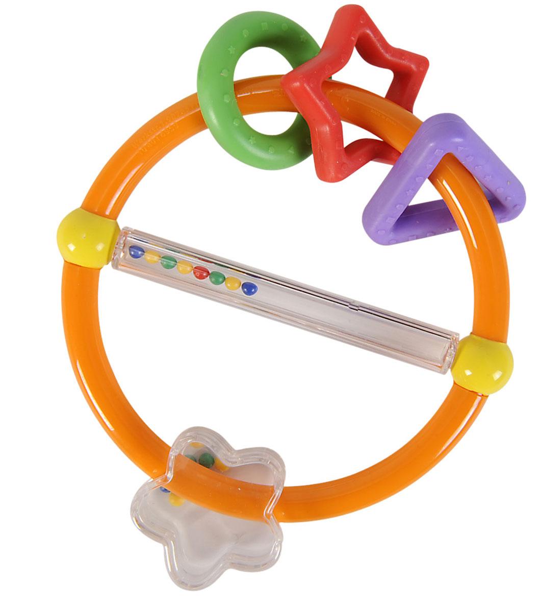Simba Погремушка с подвесками цвет оранжевый4016959Яркая погремушка привлечет внимание вашего ребенка и надолго останется его любимой игрушкой. Детская погремушка предназначена для детей в возрасте от трех месяцев. Погремушка выполнена в виде круга, на котором подвешены резиновые фигуры в виде звездочки, кружка и треугольника и прозрачный цветочек. Резиновые подвески можно использовать как прорезыватели. Круг разделен прозрачной трубкой с перекатывающимися там цветными шариками. В игровой форме малыш ознакомится с такими понятиями, как звук, цвет и форма предмета.