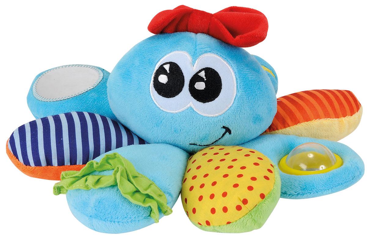 Simba Мягкая игрушка-погремушка Осьминожка4015661Мягкая игрушка-погремушка Simba Осьминожка - это симпатичная игрушка для маленьких исследователей. Она понравится крохе своим ярким дизайном и приятной тканью. На щупальцах осьминога расположены зеркало, погремушка и шуршащий элемент. Данная игрушка-погремушка способствует развитию цветового восприятия, тактильных ощущений, мелкой моторики рук и зрения ребенка.