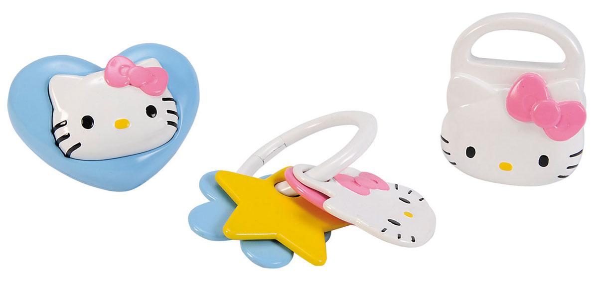 Simba Набор погремушек Hello Kitty 3 шт4014856Набор погремушек Hello Kitty включает в себя три погремушки разной формы, выполненные из яркого пластика. Гремящие шарики внутри белой игрушки в виде сумочки играют роль погремушки. Игрушка в виде сердечка дополнена мордочкой Китти, которую можно вдавливать внутрь. Третья игрушка представляет собой кольцо с нанизанными на него элементами разной формы и размера. Игра с погремушкой поможет малышу развить слуховое и цветовое восприятия, мелкую моторику рук и концентрацию внимания, а также стимулирует взаимодействие между органами осязания, слухом и зрением и учит различать формы.